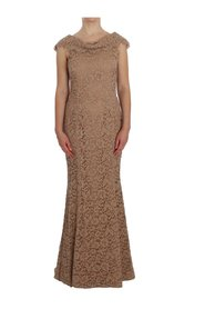 Floral Lace Full Length Sheath Dress