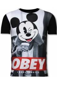 Obey Mouse  - Digital Rhinestone T-shirt