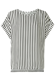 YAYA - Striped Top With Cap Sleeves and Round Neck - Black Dessin