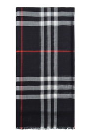 Giant Check Gauze Scarf in Wool