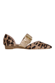 Leopard pony leather ballerina and laminated leather
