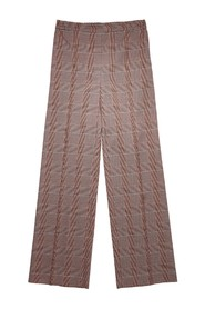 Elasticated-waist checked trousers