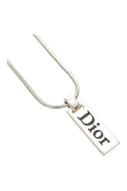 Pre-owned Logo Plate Pendant Necklace
