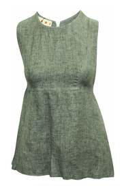 Linen Sleeveless Top With Raw Hem -Pre Owned Condition Very
