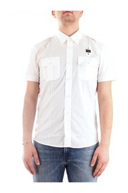 BLAUER 20SBLUS02248-004612 Short sleeve shirts Men WHITE