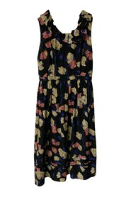 pre-owned Sleeveless Silk Floral Dress with Asymmetrical Ruffle Top