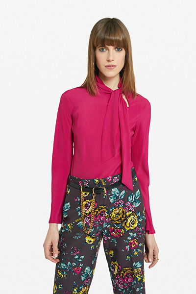 Pink SWEATER WITH FOULARD NECK Ottod'Ame Blouses