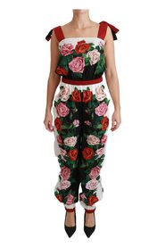 Rose Print Overall Jumpsuit