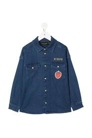 Denim Shirt with Strawberry Patch