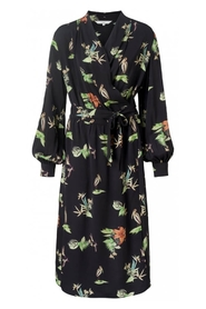 YAYA - Maxi Dress with all over wild animals and flower print - Black Dessin