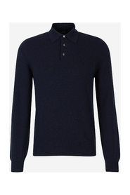 Cashmere bluse med polo hals