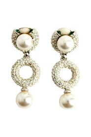 Roxanne Assouline Pave crystal pearl emerald gripoix earrings
