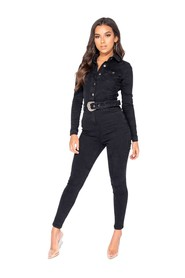 Western Belt Detail Long Sleeve Denim Jumpsuit