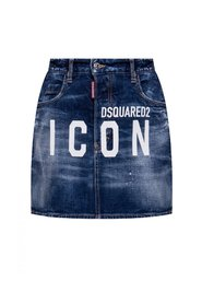 Denim skirt with logo