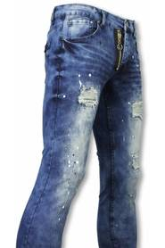Exklusiva Jeans - Slim Fit Damaged Fake Zipper Jeans