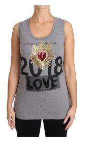 Tank Top Crystal Sequined Heart