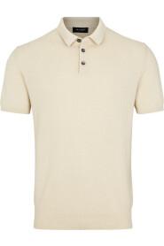 Beige Sand Retro Polo Pique T-Skjorte