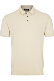 Sand Beige Retro Polo Pique koszulka