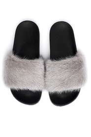 MINK FUR SLIPPERS LIGHT GREY