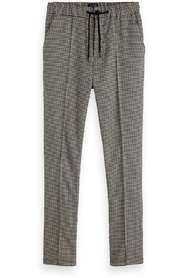 Houndstooth pant with pintuck  5-Pocket Zwart