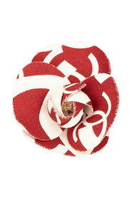 Printed Cotton Camellia Brooch