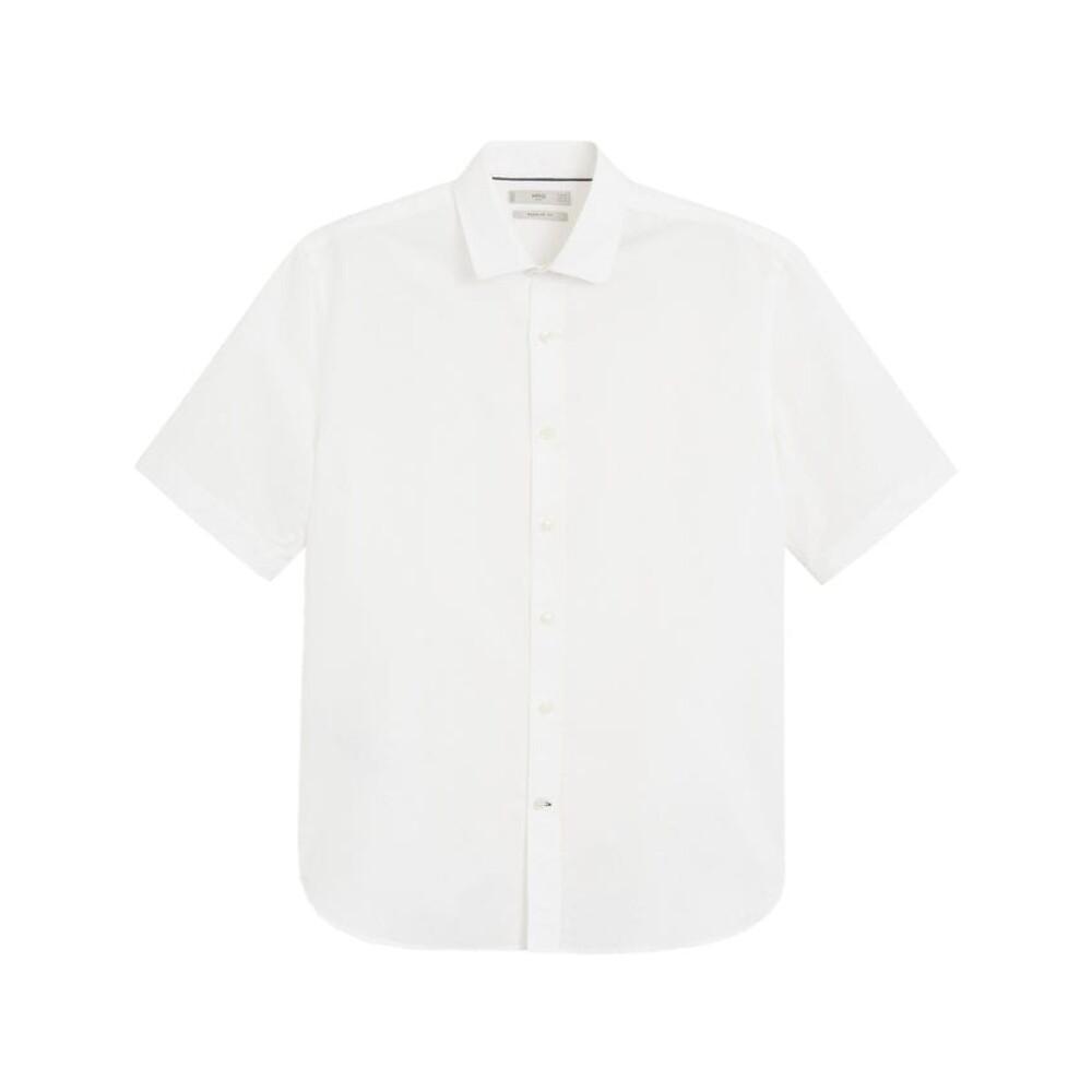 Red Skjorta regular fit bomull linne  MANGO  Kortärmade skjortor