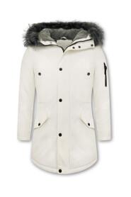 Long Men's Winter Coat With Fake Fur Collar