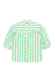 Balloon-sleeve striped shirt