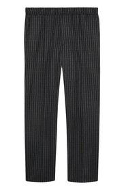Jogging trousers in pinstriped wool