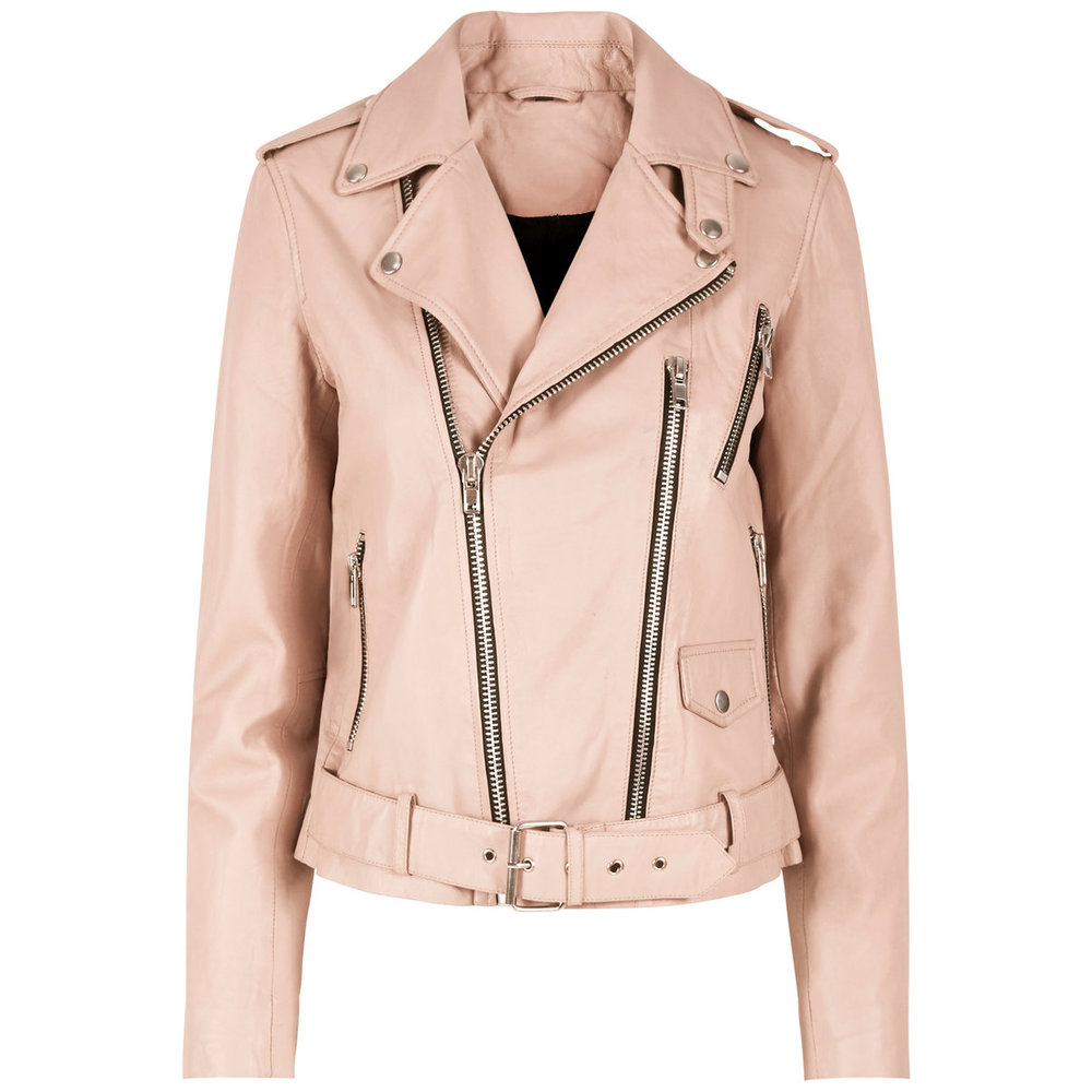 Leather jacket feminine biker