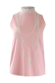 Sleeveless Pink Top with Pearl Pattern