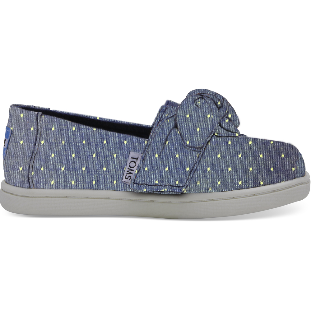 Imperial Blue Dot Chambray/Bow Toms Alpargata