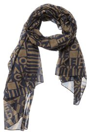 WOVEN COTTON SCARF WITH ALLOVER 'KEEP MOVING' PRINT