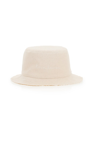 twill bucket hat with pearls and shells