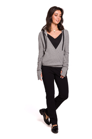 Hooded wrap front pullover