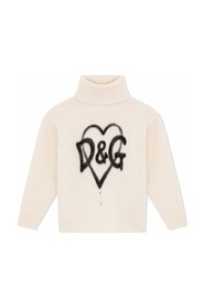 Turtle-neck pullover with spray-paint DG logo print