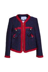 CLOTH JACKET WITH BOW MICROPOIS AND GOLD BUTTONS