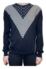 Spot and stripe long sleeve top