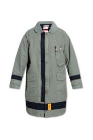 Coat with corduroy collar