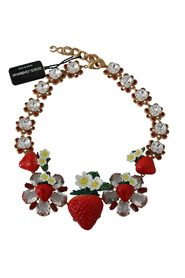 Strawberry Crystal Floral Charm Statement Necklace