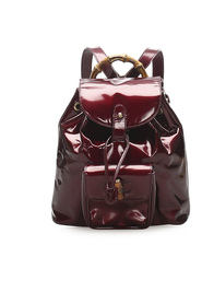 Bamboo Drawstring Patent Leather Backpack