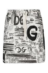 Fleece miniskirt with DG graffiti print