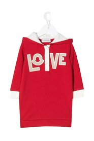 Love-patch hooded dress