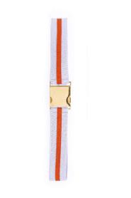 Ceinture bicolore en tissu avec boucle dorée