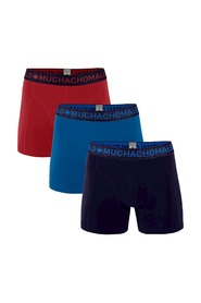 Muchachomalo 3-pack boxershorts solid blauw/rood-S
