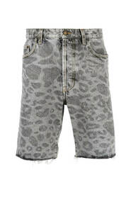 Leopard-Print Denim Shorts