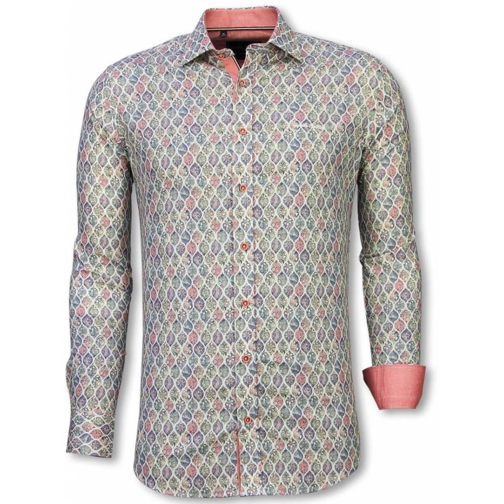 Slim Fit Shirt Pastel Flower Pattern