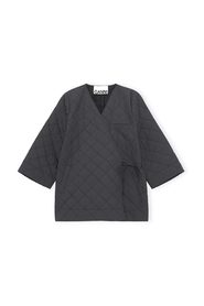 Quilted Wrap Coat Stretch Canvas Phantom