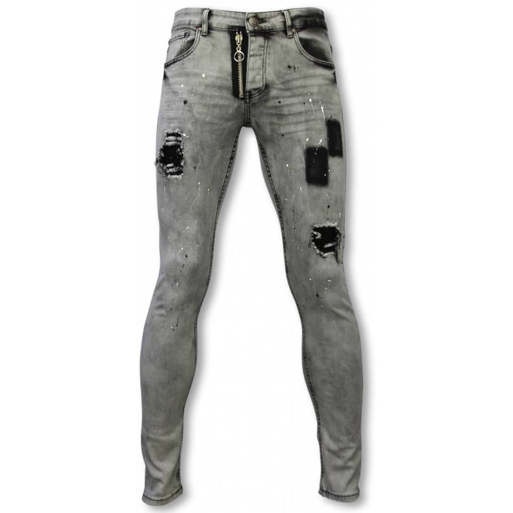 Exclusieve Jeans - Slim Fit Damaged Fake Zipper Jeans