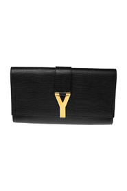 pre-owned Textured Leather Y-Ligne Clutch
